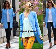 Zara Abrigo Chaqueta Blazer De Lino Luz Azul Pastel Blazer Pequeño-S