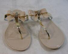 Women NUDE ladies summer beach retro slip on flat jellies jelly sandal SIZE  8