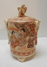 Jar Eagle Lid Bats Women Child Men Footed Japanese Satsuma Earthenware Vintage