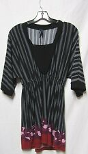 Ashley Judd M 8/10 bust 38 Top shirt blouse black Multi Polyester Spandex.