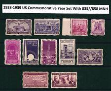 U.S. 1938 & 1939 Commemorative Year Set  # 835 ~ 858 11 MNH Stamps
