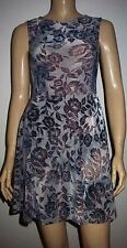 GLAMOROUS Grey Textured Skater Style Sleeveless Casual Summer Dress Size XS