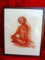 sublime,ancien tableau__féminin Nu__Signé __Craie rouge dessin __1977