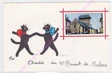 CPSM 15140 SAINT BONNET DE SALERS Amitiés Illustrateur RENE LE CHAT