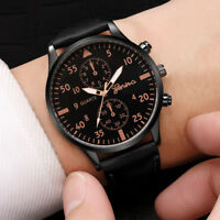 Luxury Men's Quartz Wrist Watches Casual Leather Watch Strap Analog Slim Dial