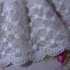 "Little Ribbon Flowers Cotton Embroidery Net Lace 12cm(4.7"") Vintage ST 1yd"