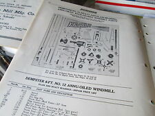 8ft & 10ft Dempster #12 Windmill Parts List and Diagrams Early 1922-24 versions