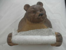 "NEW BROWN Bear Toilet Paper Roll Holder Resin 7 x 5 x 4"" Hangs Dispenser Storage"