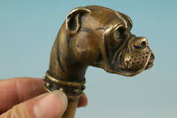 Handmade Bronze Carving Dog Collect Cane Walking Stick Head Statue