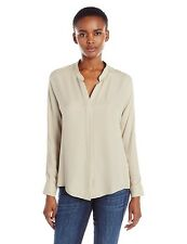 NWT VINCE Silk Double Front Taupe Shirt 10 $295