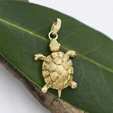 18k Yellow Gold Estate Textured Turtle Animal Pendant