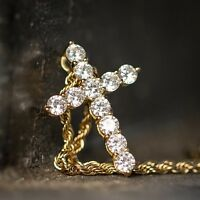 Mens Woman Lab Simulated Diamond Small Iced Gold Mini Cross Pendant Necklace