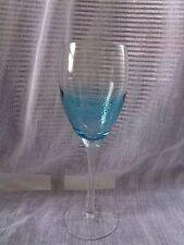 ROSCHER TEAL BUBBLE DESIGN HANDBLOWN STEM STEMWARE WINE GLASSES SET OF 4 NEW