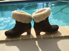 UGG AUSTRALIA Lynnea S/N 1955 Brown Suede Shearling Wood Clog Boots Size 10