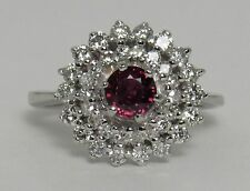 14K White Gold Ruby And Diamond Cocktail Cluster Bling Ring - Pre-Owned