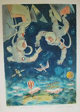Emil WEDDIGE - Estampe originale - Lithographie - Les anges dans l'espace