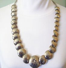 Hammered Metal Antiqued Silver Tone Discs Necklace Graduated Chunky Vintage