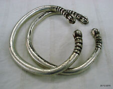 bangle cuff pair solid unisex jewelry vintage antique tribal old silver bracelet