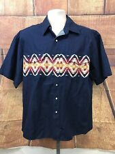 Rustler Men's Size L Short Sleeve Snap Front Western Shirt Blue