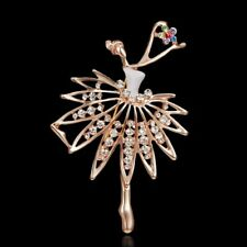 Wedding Bridal Gold Flower Dancing Girl Crystal Brooch Pin Women Jewelry Gift