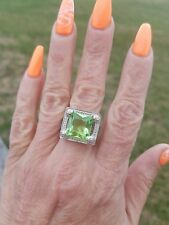 Fancy Cut Square Lime Quartz Solitaire Platform Ring, Sterling Silver, Size 8
