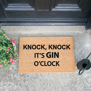 Knock Knock It's Gin O'Clock Novelty Alcohol Doormat - Made To Order
