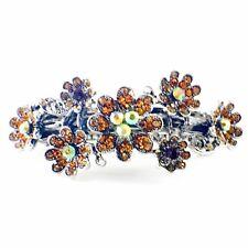 Vintage BARRETTE Rhinestone Crystal Hair Clip Hairpin Victorian Flower Brown 15