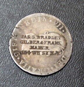 "1816 JJ  MEXICO 2 REALE COUNTER STAMPED "" GILDER & FRAME MAKER "" COIN"