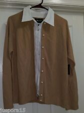 Sag Harbor NWT Womens Tan/White Layered LOOK Sweater Top Size L