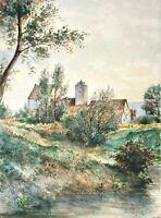 """Romantische Flusslandschaft mit Burg, Aquarell, monogrammiert """"R.E."""" 19./20. Jh."""