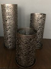 Set Of PartyLite Thai Inspiration Metal Pillar Sleeve Candle Holder Brown Floral