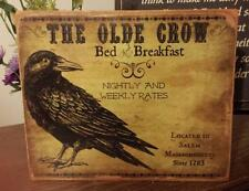 Primitive Sign The Olde Crow Bed & Breakfast Distressed Shabby