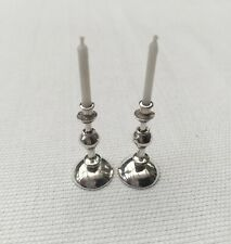 STUNNING LARGE SOLID SILVER GEORGIAN CANDLESTICKS PAIR DOLLS HOUSE DOLLHOUSE