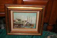 Vintage Original Nautical Oil Painting-Boats Water Houses Dock Birds-Signed