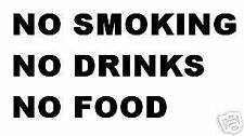 3  X TAXI CAB STICKERS,NO SMOKING DRINKS OR FOOD,7 SEATER,MINIBUS,CAB,CAR TRUCK