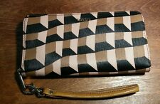 "Fossil Wristlet Clutch Wallet Zip-Around Black Brown Tan 8"""