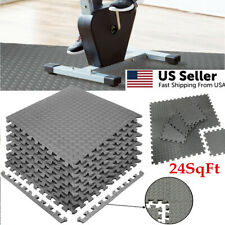 GYM RUBBER FLOORING Tiles Sports Home Fitness Exercise 24 SQFT Workout Floor Mat