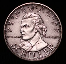 FAMOUS MEN GROBE MANNER FRIEDRICH SCHILLER SILBER 1000 FEIN SILVER COIN MEDAL GM