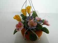 (G6.10) 1/12th scaleDOLLS HOUSE TERRACOTTA HANGING BASKET WITH FLOWERS & FOLIAGE
