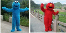 Sesame Street Blue Red monster Elmo Adult Size Mascot Costume Halloween EPE Suit