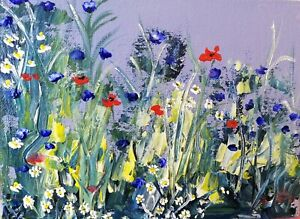 "ORIGINAL Acrylic  PAINTING canvas mounted wild flowers 12"" X 10""  Marilyn Allis"