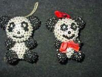2 Vintage Walco Christmas Ornaments Ling Ling & Hsing Hsing 1970's Beaded Pandas