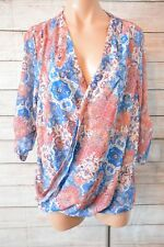 KATIES Top Sz 14 large orange white Blue Wrap Blouse