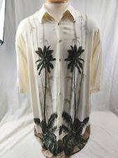 Vtg Pierre Cardin Shirt Hawaiian Rayon Mens Size XLT Palm Trees Bamboo Cream