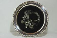Oneida  25 th. Anniversary Silver Plated Tray with Black Overlaid Floral Design