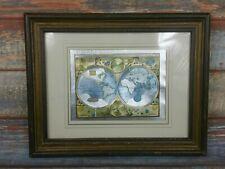More details for vintage world map reproduction framed shining 38cm x 30