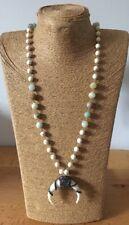 Amazonite mix white Turquoise Stones Hematite Crystal Rhinestone ox horn pendant