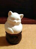 "Vintage Avon Cat in a Basket Jar  3 5/8"""