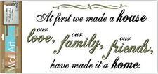 Quote: AT FIRST WE MADE A HOUSE wall stickers room decor 6 decals inspirational