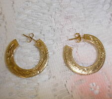 Vintage Gold Sterling Silver Engraved Pattern Earrings